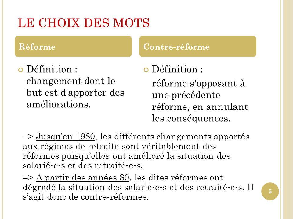 LE CHOIX DES MOTS Réforme. Contre-réforme. Définition : changement dont le but est d'apporter des améliorations.