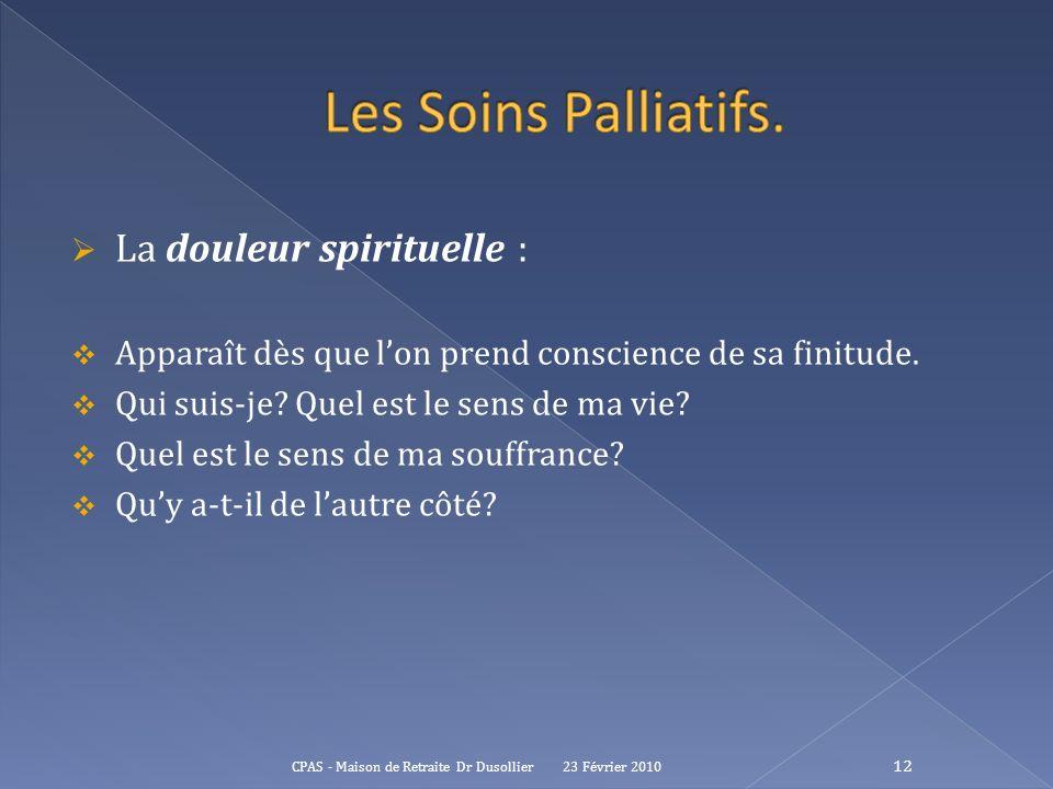 Les Soins Palliatifs. La douleur spirituelle :