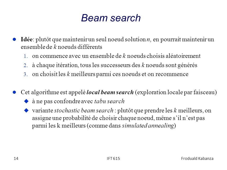 Beam search Idée: plutôt que maintenir un seul noeud solution n, en pourrait maintenir un ensemble de k noeuds différents.