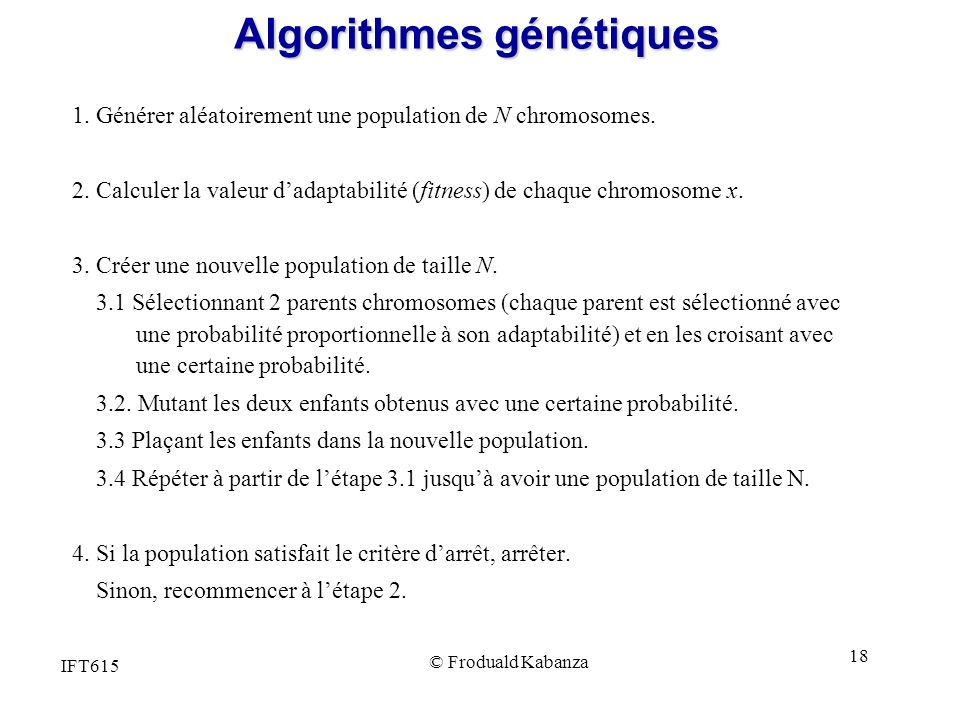 Algorithmes génétiques
