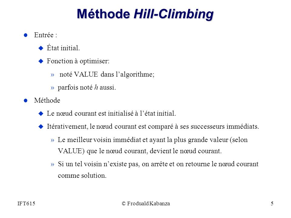 Méthode Hill-Climbing