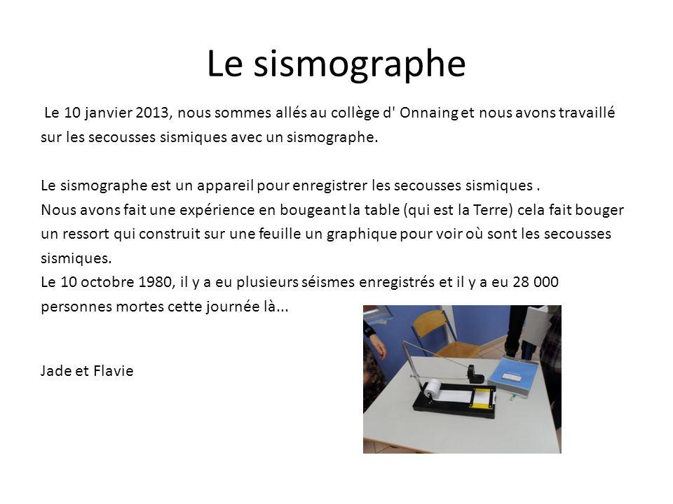 Le sismographe Le 10 janvier 2013, nous sommes allés au collège d Onnaing et nous avons travaillé.