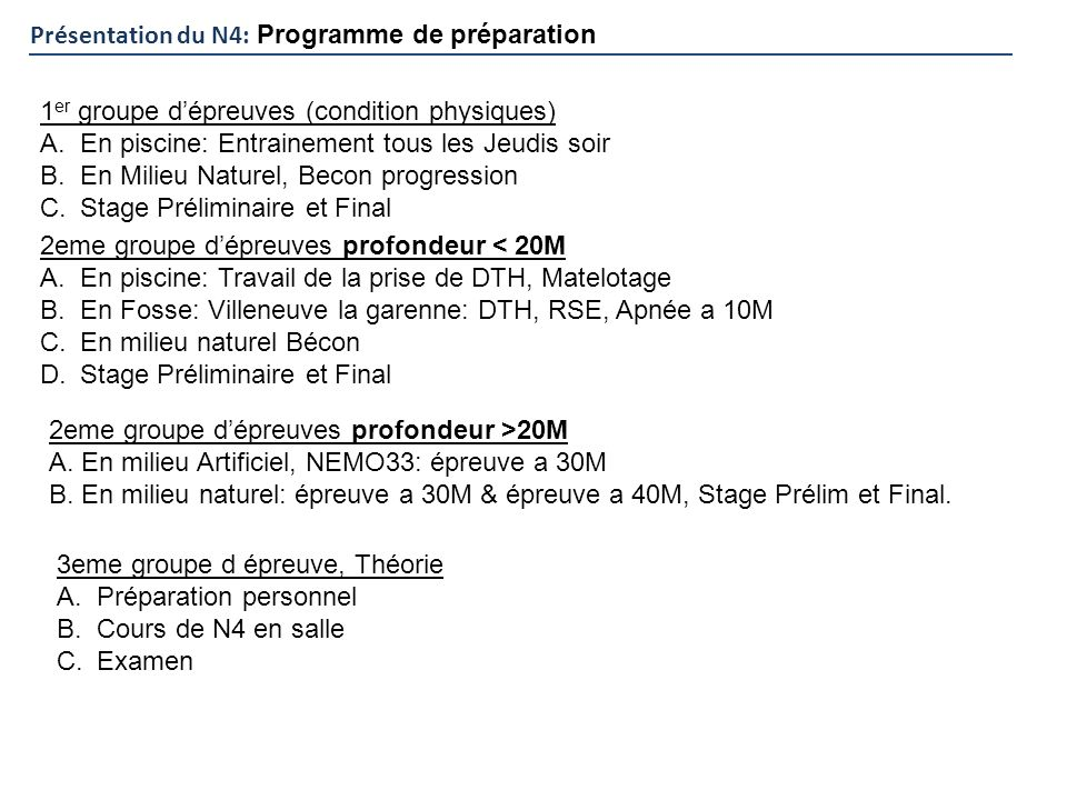 Présentation du N4: Programme de préparation