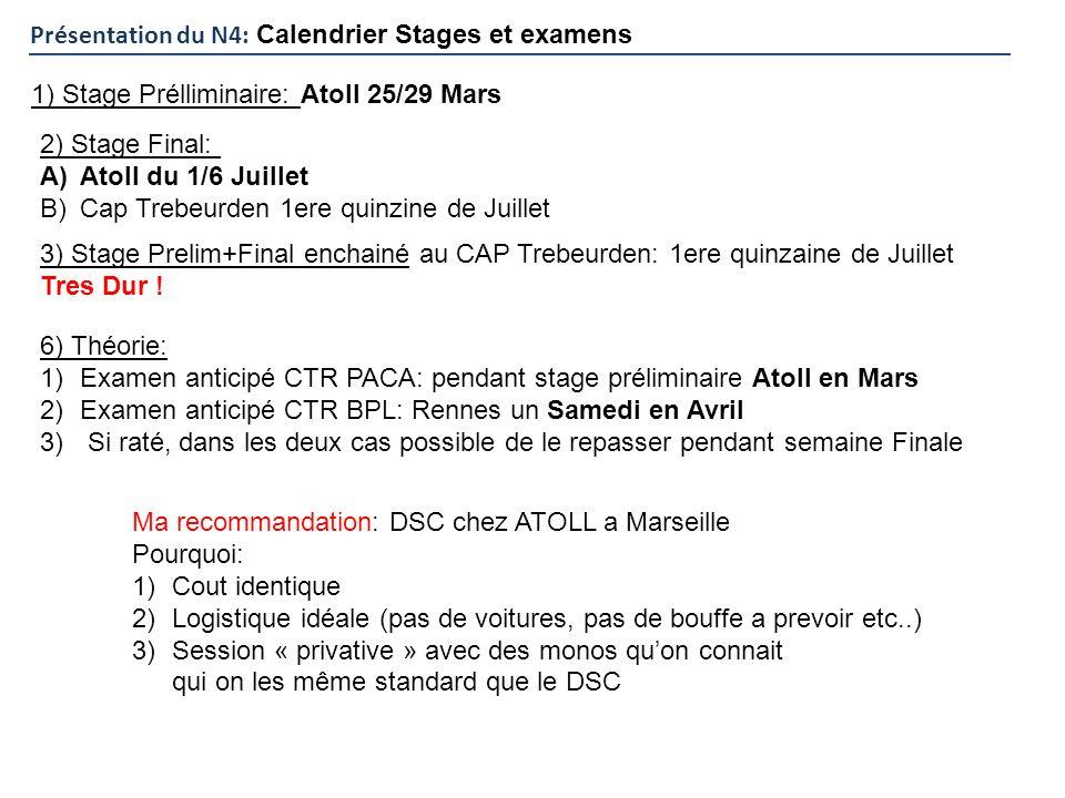 Présentation du N4: Calendrier Stages et examens