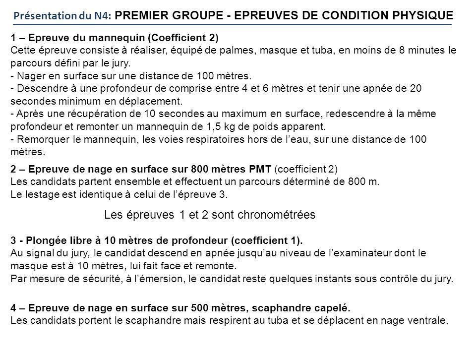 Présentation du N4: PREMIER GROUPE - EPREUVES DE CONDITION PHYSIQUE