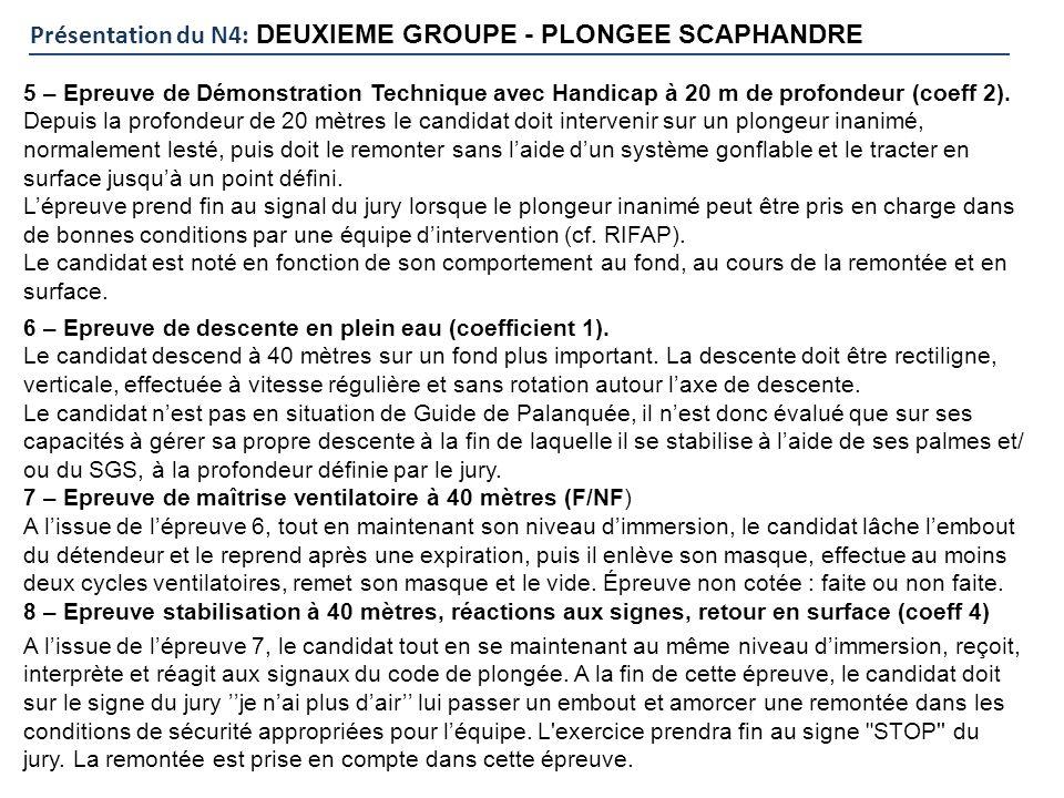 Présentation du N4: DEUXIEME GROUPE - PLONGEE SCAPHANDRE