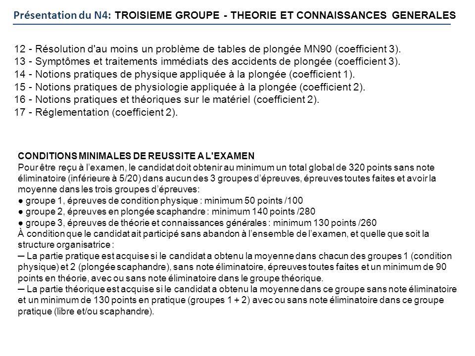 Présentation du N4: TROISIEME GROUPE - THEORIE ET CONNAISSANCES GENERALES