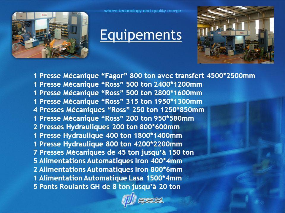 Equipements 1 Presse Mécanique Fagor 800 ton avec transfert 4500*2500mm.