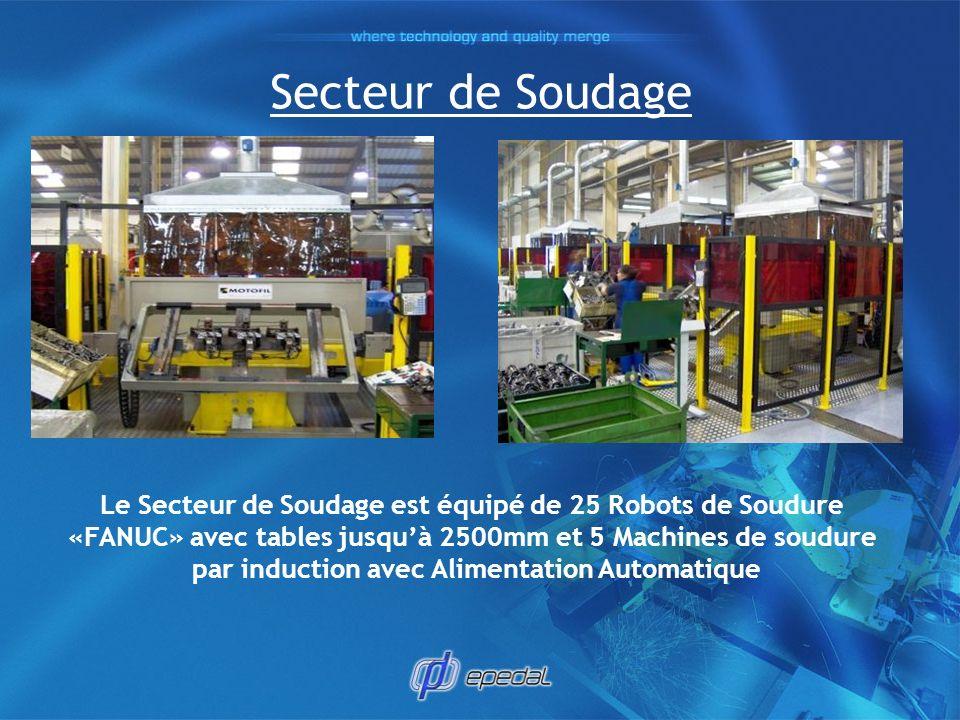 Secteur de Soudage Le Secteur de Soudage est équipé de 25 Robots de Soudure. «FANUC» avec tables jusqu'à 2500mm et 5 Machines de soudure.