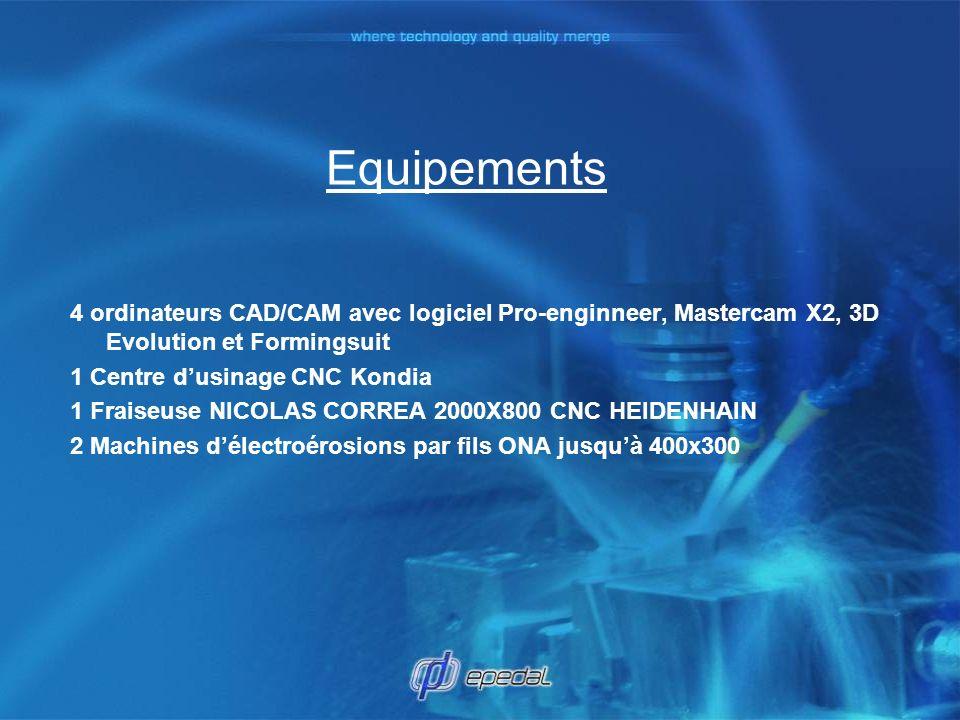 Equipements 4 ordinateurs CAD/CAM avec logiciel Pro-enginneer, Mastercam X2, 3D Evolution et Formingsuit.
