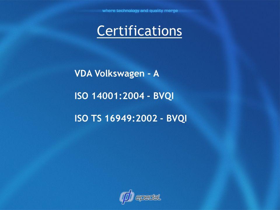 Certifications VDA Volkswagen - A ISO 14001:2004 - BVQI