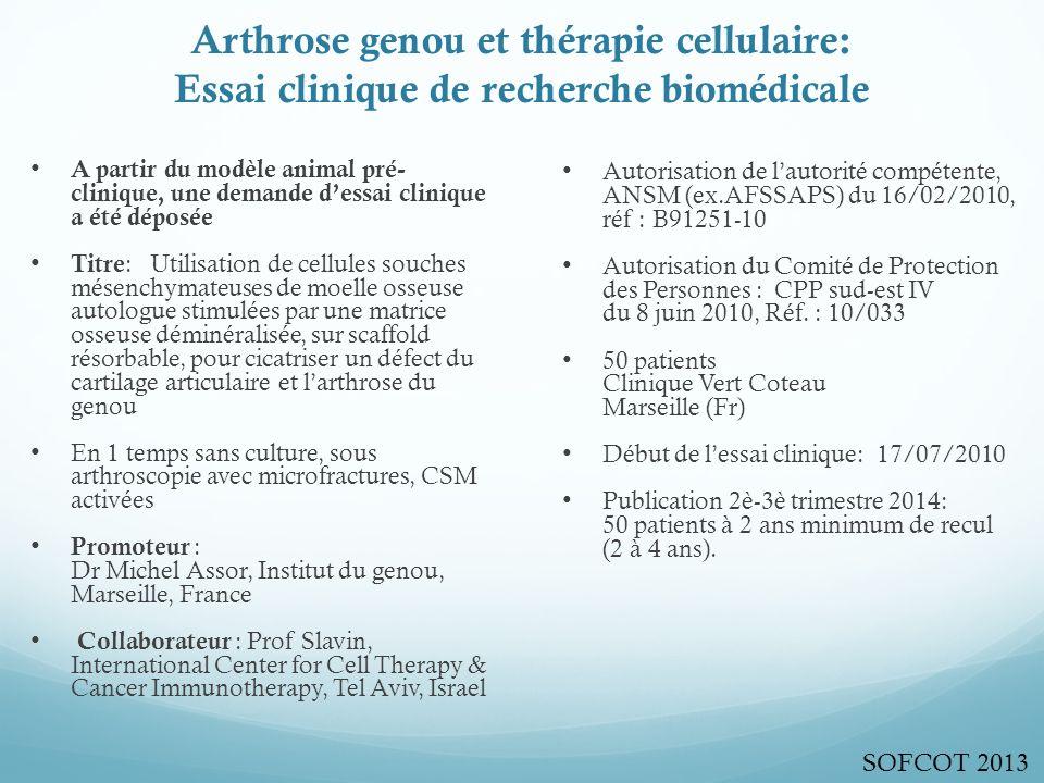 Arthrose genou et thérapie cellulaire: Essai clinique de recherche biomédicale