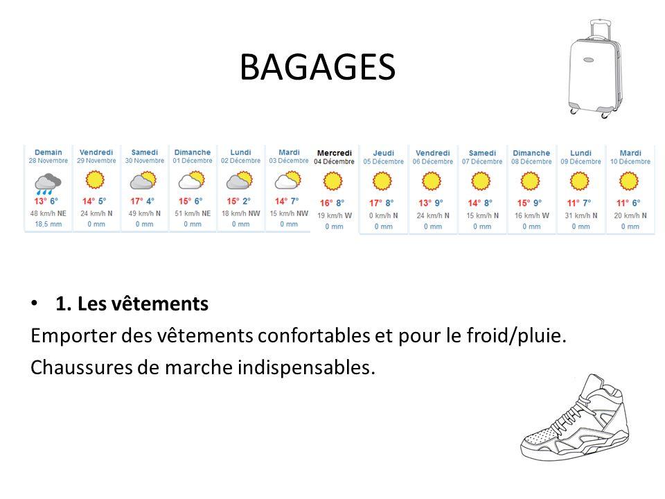 BAGAGES 1. Les vêtements. Emporter des vêtements confortables et pour le froid/pluie.