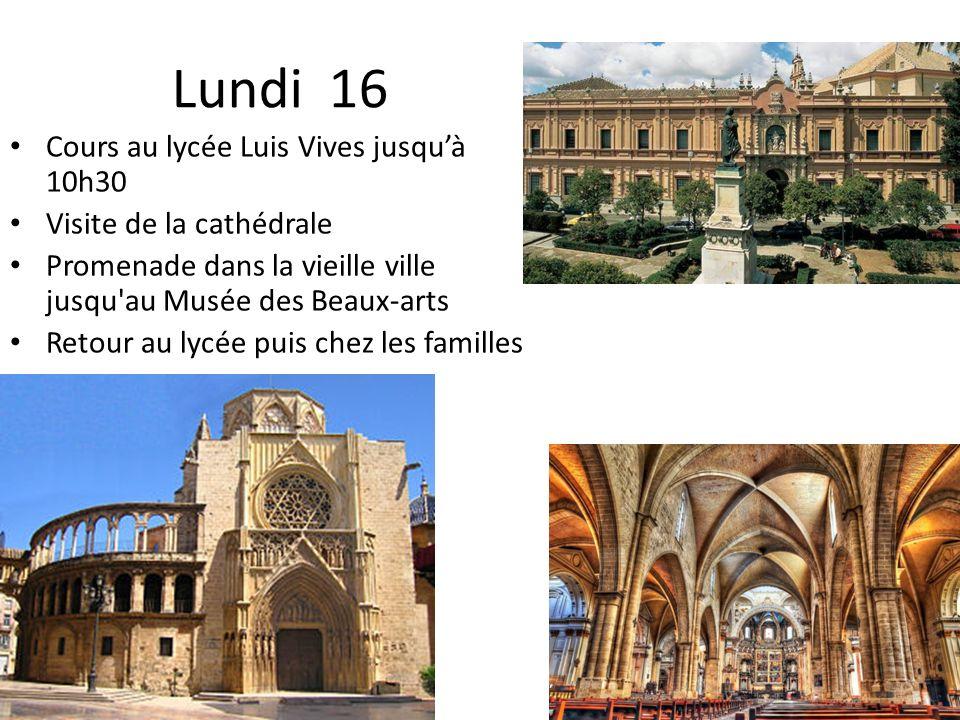 Lundi 16 Cours au lycée Luis Vives jusqu'à 10h30