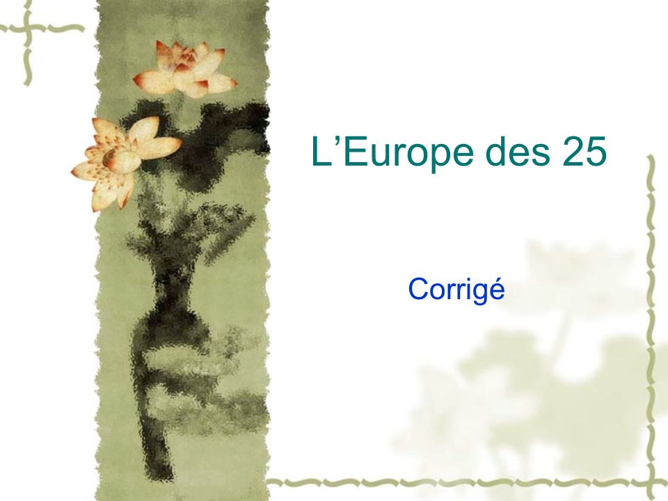 L'Europe des 25 Corrigé