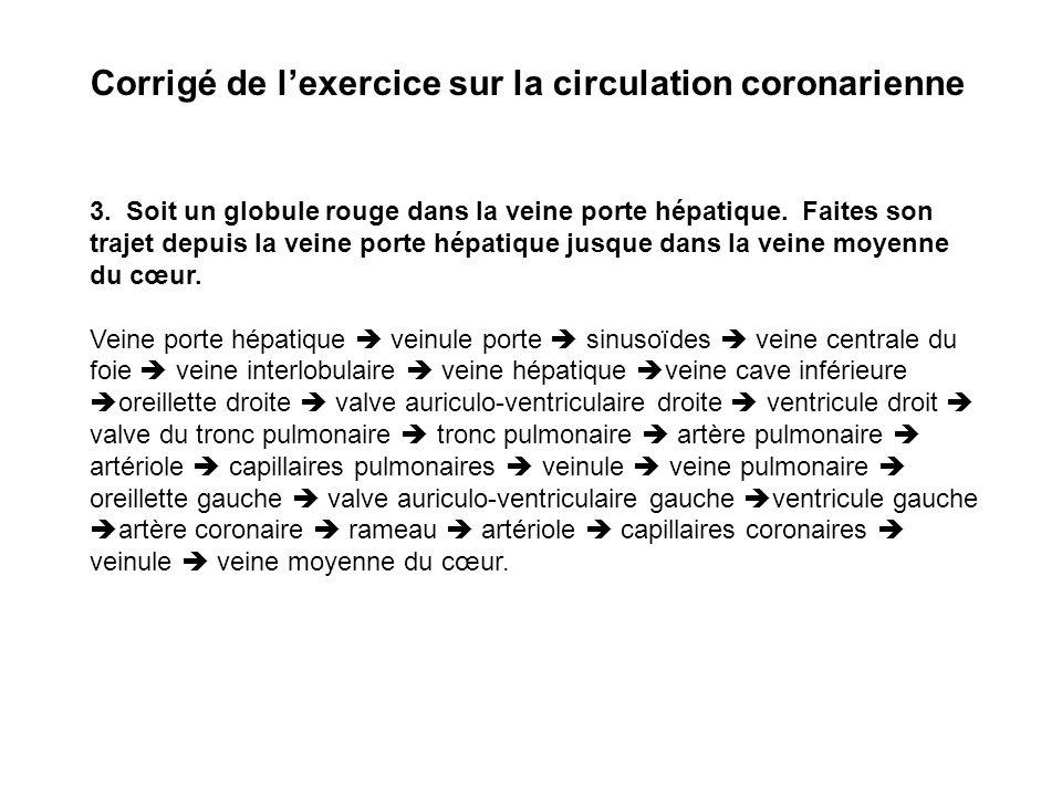 Corrigé de l'exercice sur la circulation coronarienne