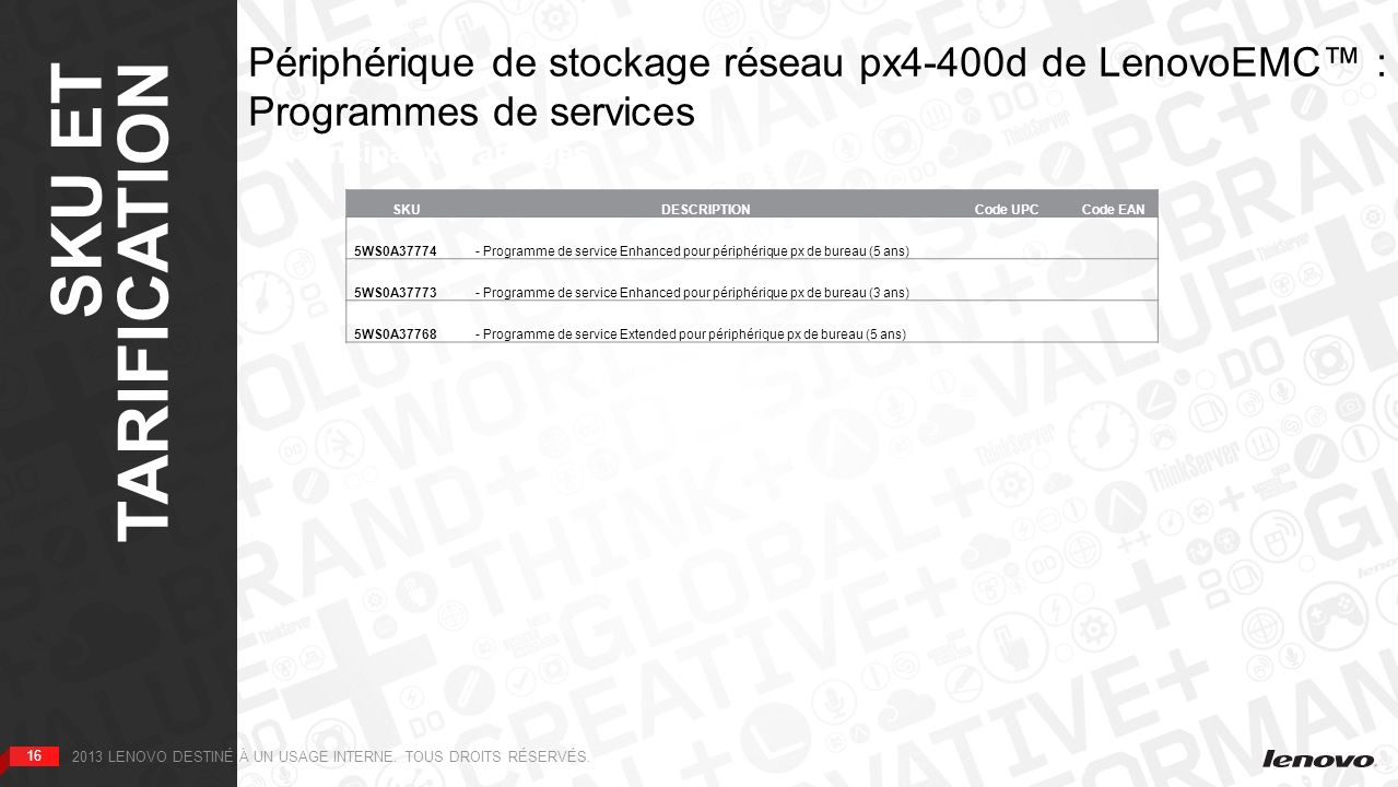 SKU ET TARIFICATION Périphérique de stockage réseau px4-400d de LenovoEMC™ : Programmes de services.