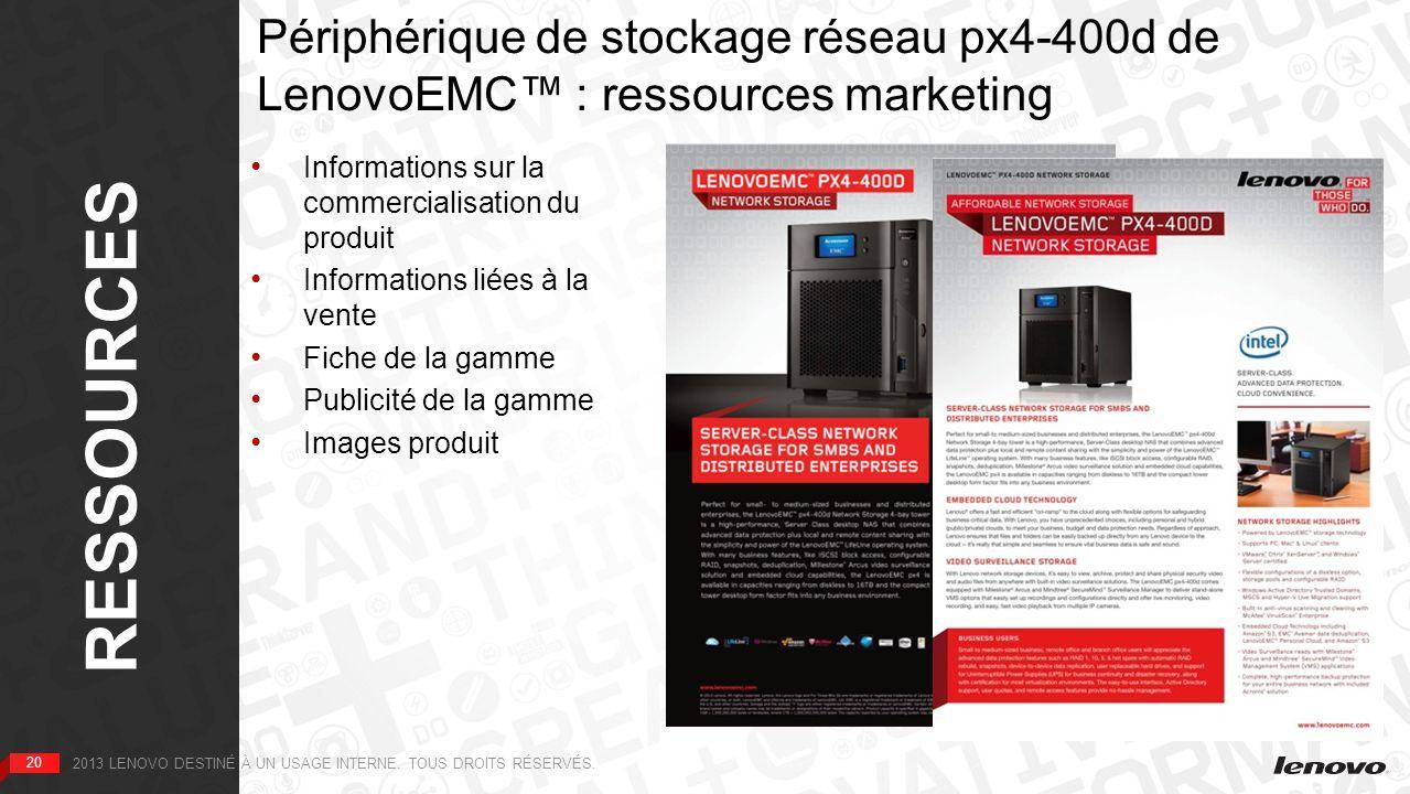 RESSOURCES Périphérique de stockage réseau px4-400d de LenovoEMC™ : ressources marketing. 1re PAGE.