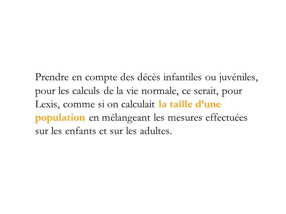Prendre en compte des décès infantiles ou juvéniles, pour les calculs de la vie normale, ce serait, pour Lexis, comme si on calculait la taille d'une population en mélangeant les mesures effectuées sur les enfants et sur les adultes.