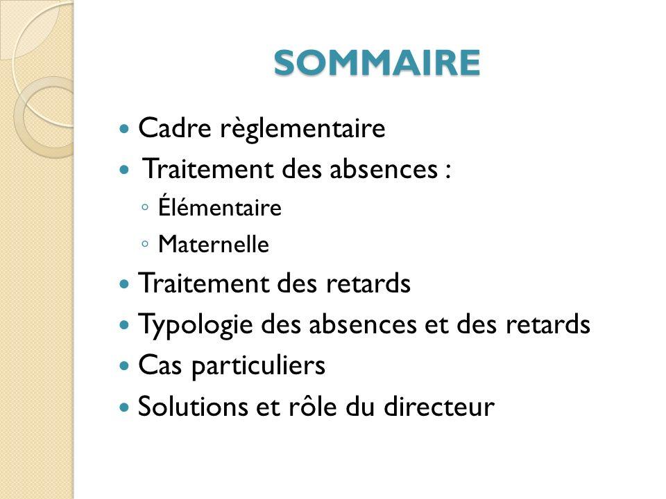 SOMMAIRE Cadre règlementaire Traitement des absences :