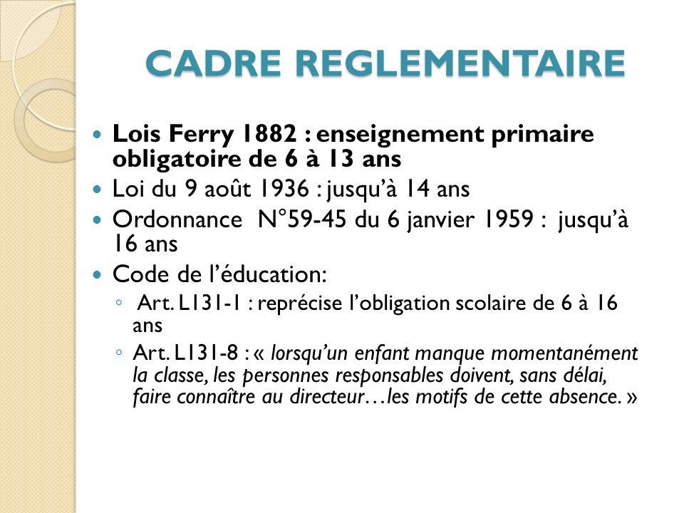 CADRE REGLEMENTAIRE Lois Ferry 1882 : enseignement primaire obligatoire de 6 à 13 ans. Loi du 9 août 1936 : jusqu'à 14 ans.