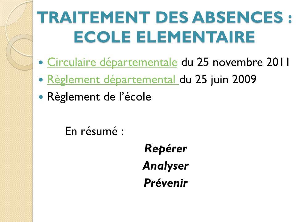 TRAITEMENT DES ABSENCES : ECOLE ELEMENTAIRE
