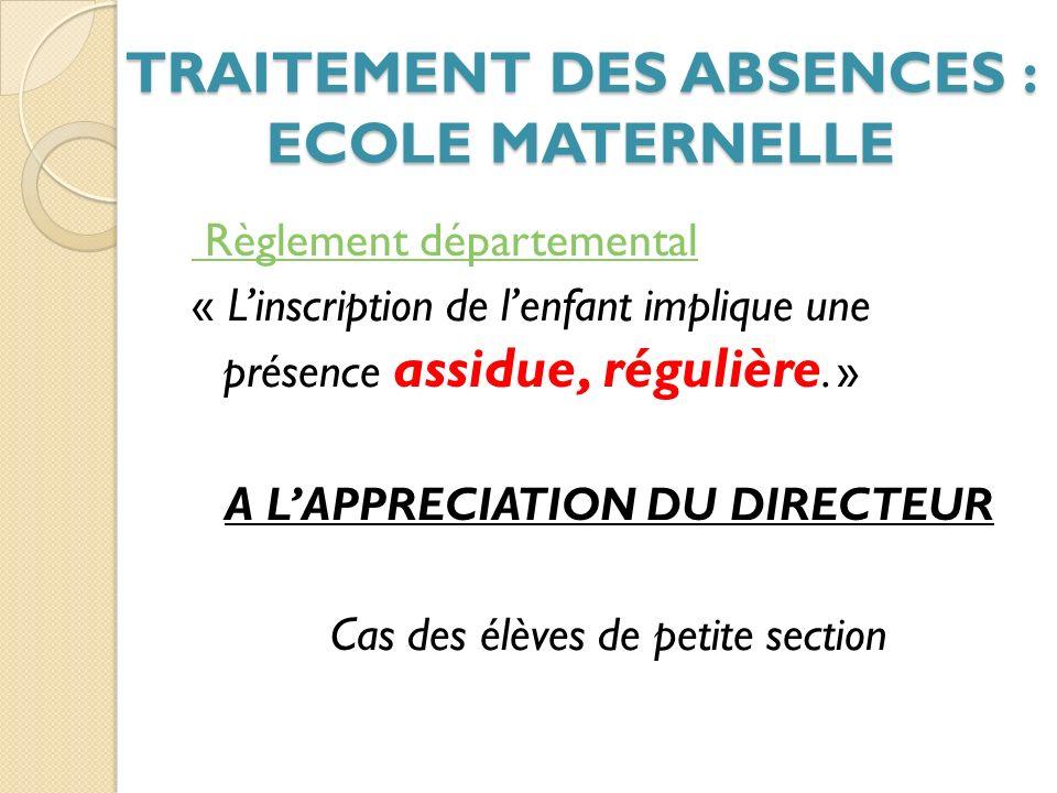 TRAITEMENT DES ABSENCES : ECOLE MATERNELLE