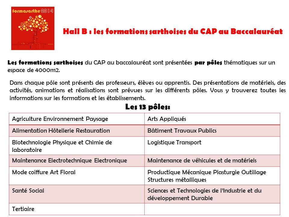 Hall B : les formations sarthoises du CAP au Baccalauréat
