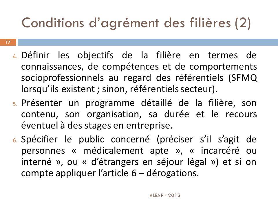 Conditions d'agrément des filières (2)