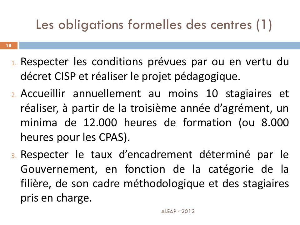 Les obligations formelles des centres (1)