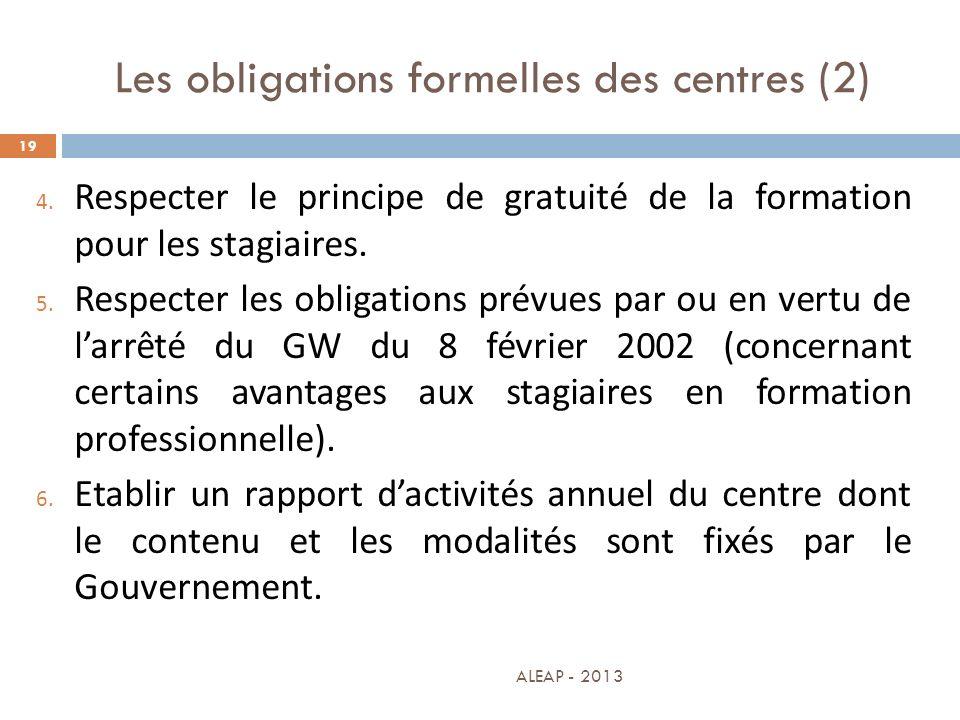 Les obligations formelles des centres (2)