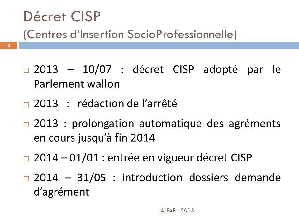 Décret CISP (Centres d'Insertion SocioProfessionnelle)