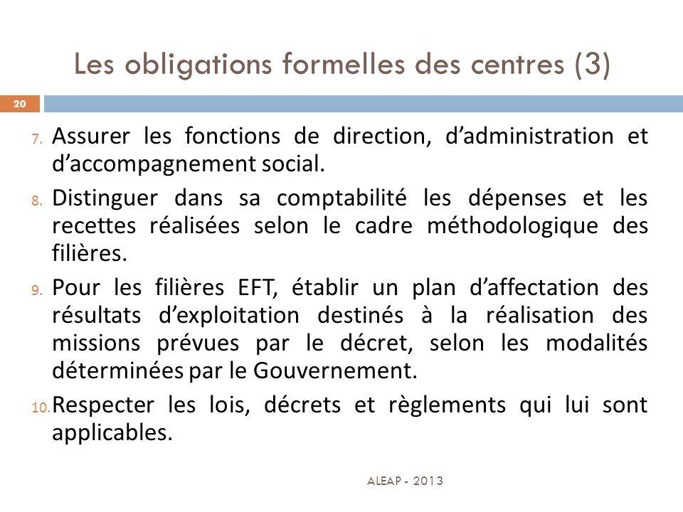 Les obligations formelles des centres (3)