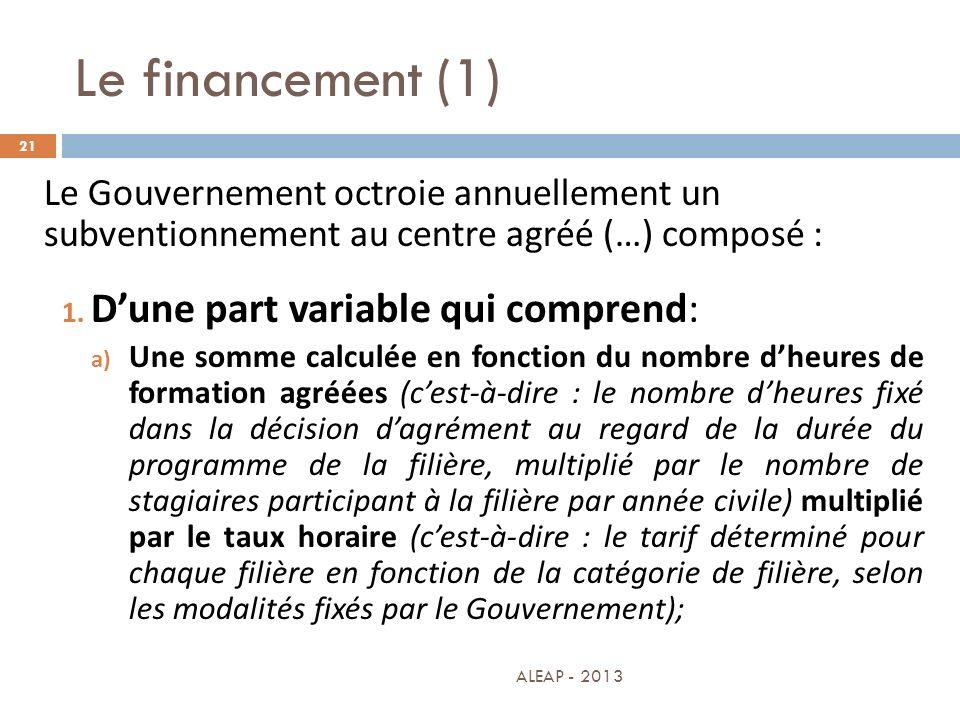 Le financement (1) D'une part variable qui comprend: