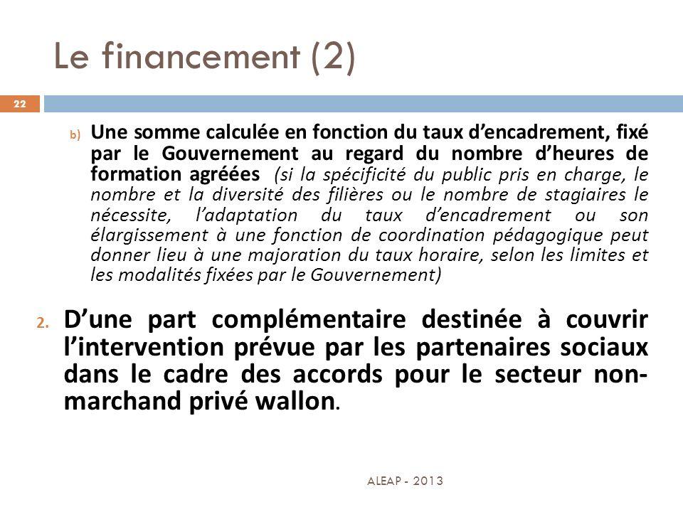 Le financement (2)