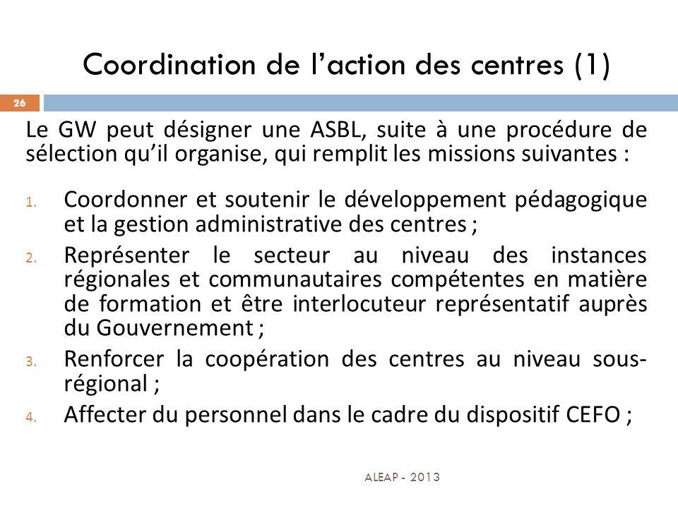 Coordination de l'action des centres (1)
