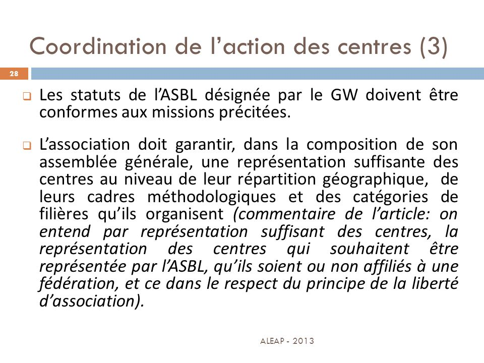 Coordination de l'action des centres (3)