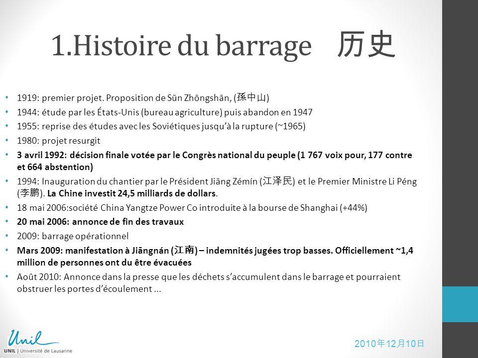 1.Histoire du barrage 历史 1919: premier projet. Proposition de Sūn Zhōngshān, (孫中山)