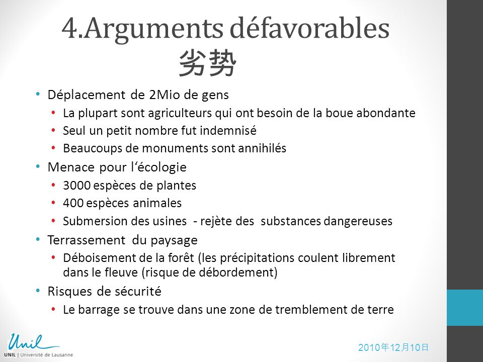 4.Arguments défavorables 劣势