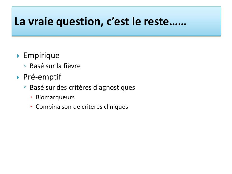 La vraie question, c'est le reste……