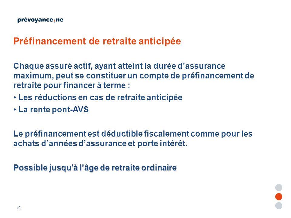 Préfinancement de retraite anticipée