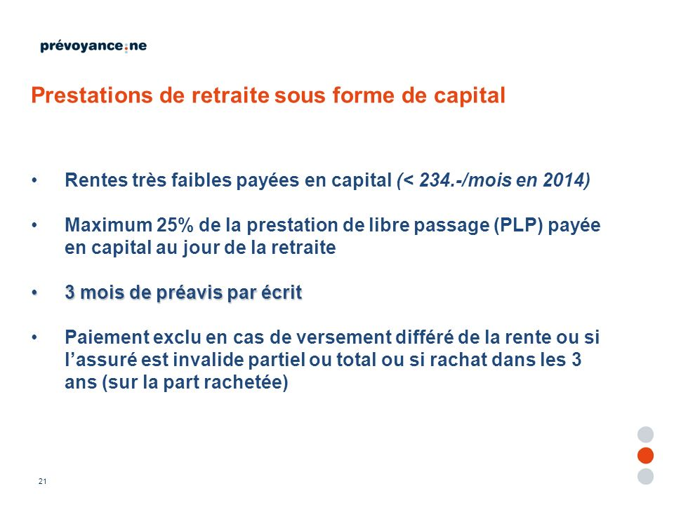 Prestations de retraite sous forme de capital