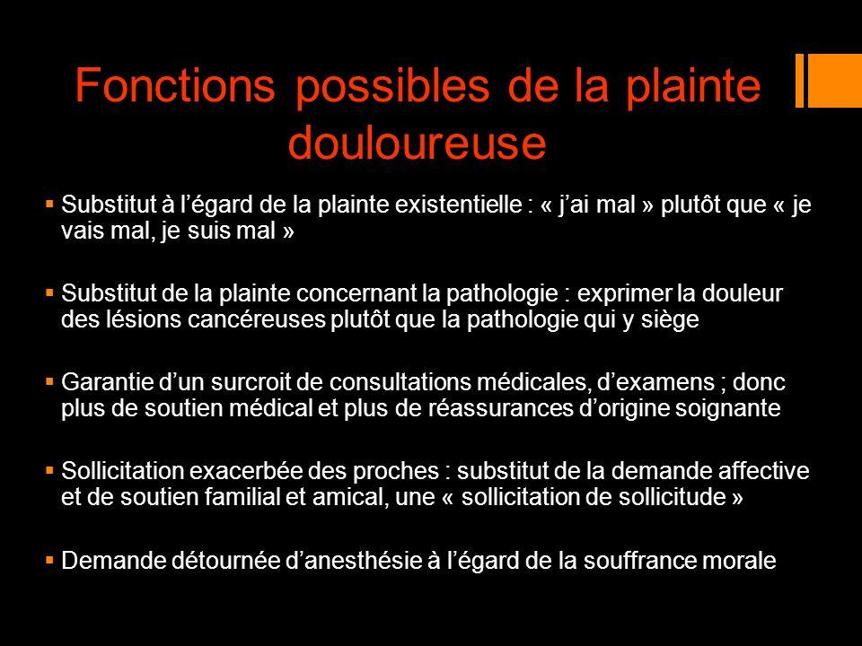Fonctions possibles de la plainte douloureuse