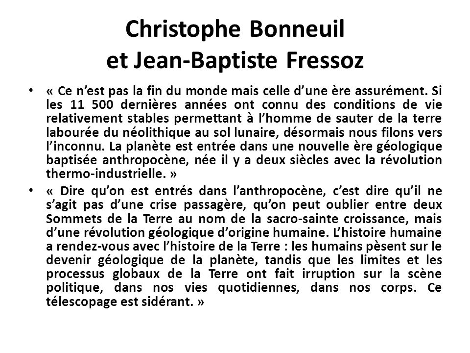 Christophe Bonneuil et Jean-Baptiste Fressoz