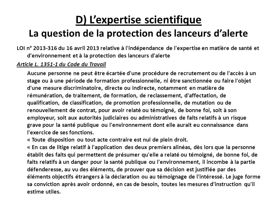 D) L'expertise scientifique La question de la protection des lanceurs d'alerte