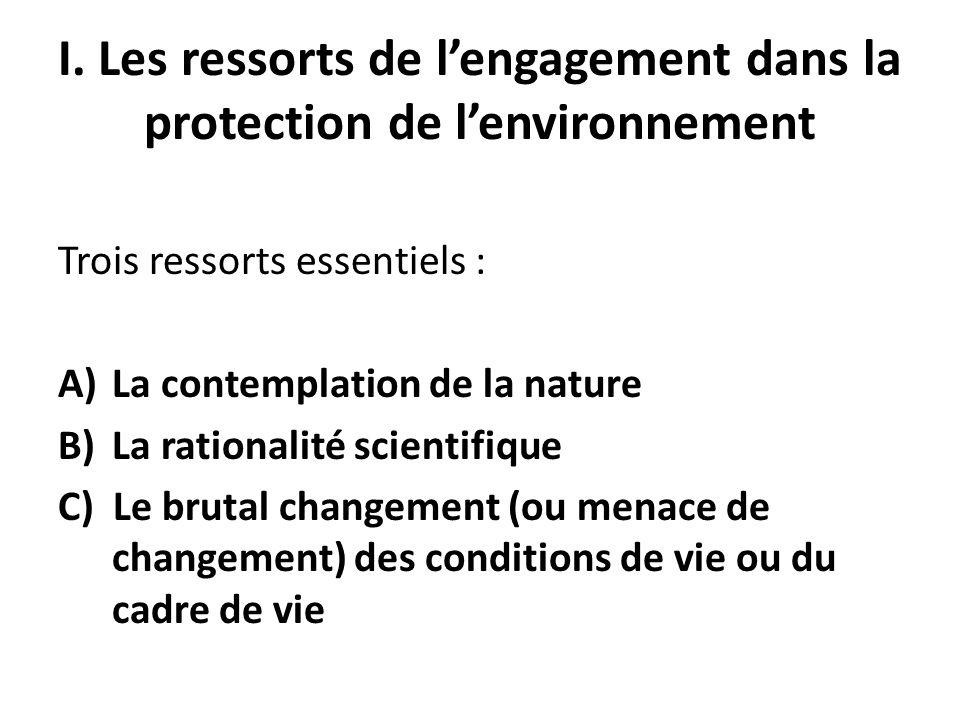 I. Les ressorts de l'engagement dans la protection de l'environnement
