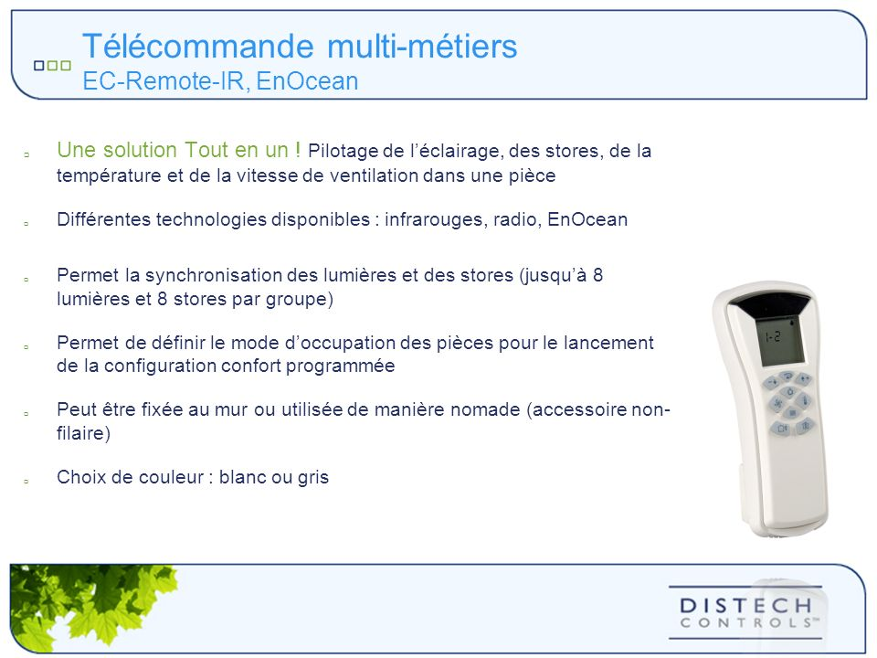 Télécommande multi-métiers EC-Remote-IR, EnOcean