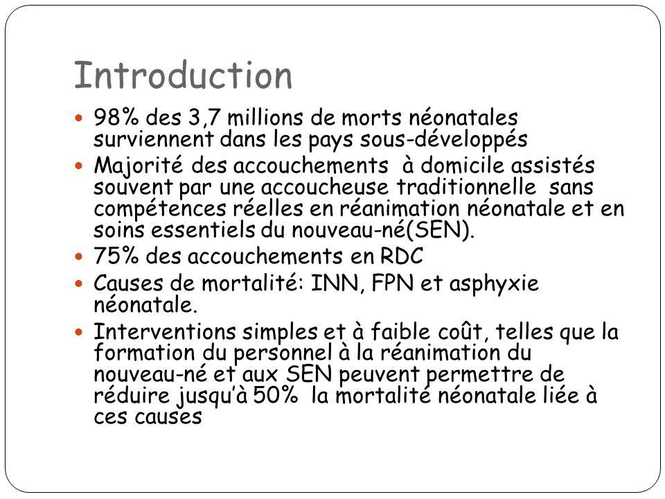 Introduction 98% des 3,7 millions de morts néonatales surviennent dans les pays sous-développés.