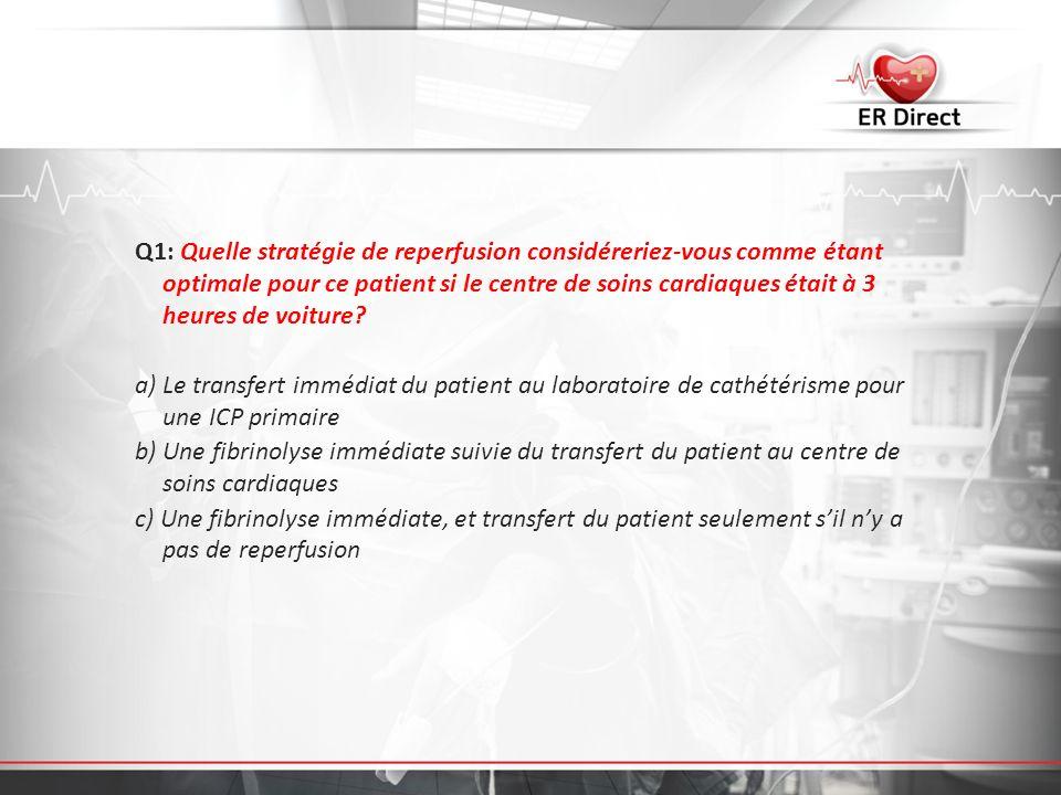 Q1: Quelle stratégie de reperfusion considéreriez-vous comme étant optimale pour ce patient si le centre de soins cardiaques était à 3 heures de voiture