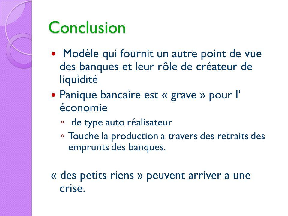 Conclusion Modèle qui fournit un autre point de vue des banques et leur rôle de créateur de liquidité.